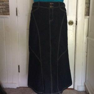 Baccini long denim maxi skirt